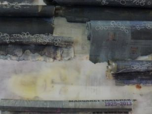 newspaper, wax and stitch